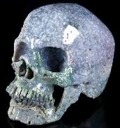 "Gemstone 6.2"" Purple Grape Agate Carved Crystal Skull, Super Realistic, Healing"