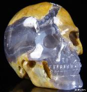 "Gemstone 1.4"" Argentina Blue Stone Carved Crystal Skull, Realistic"