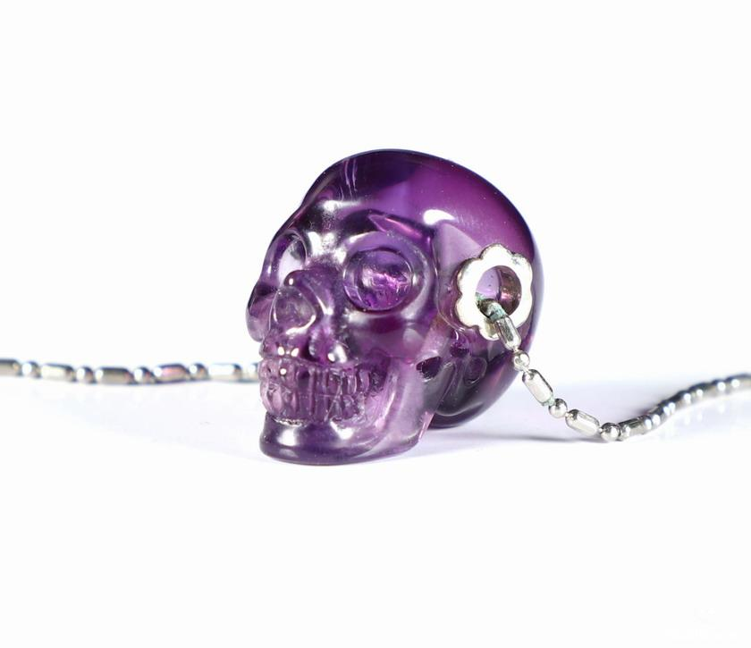 Amethyst Crystal Skull pendant With Sterling Silver