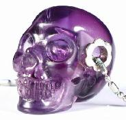 "Gemstone 1.0"" Amethyst Carved Crystal Skull pendant With Sterling Silver, Realistic, Crystal Healing"
