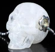 "0.8"" Moonstone Carved Crystal Skull Pendant With Sterling Silver, Realistic"