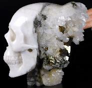 "Lifesized 7.0"" Pyrite Druse Carved Crystal Skull With Spine, Realistic, Crystal Healing"