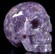 "GEMSTONE 2.0"" Purple Grape Agate Carved Crystal Skull, Realistic, Crystal Healing"
