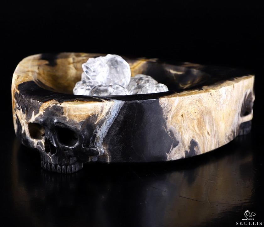 Petrified Wood Branch Crystal Skull Plate