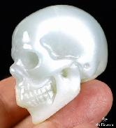 "FLASH 1.6"" Moonstone Carved Crystal Skull, Realistic, Crystal Healing"