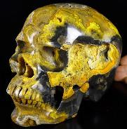 "Lifesized GEMSTONE 7.1"" Bumble Bee Jasper Carved Crystal Skull, Super Realistic, Crystal Healing"