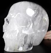 "TITAN 11.1"" Angolan Quartz Rock Crystal Carved Crystal Skull, Super Realistic, Healing"