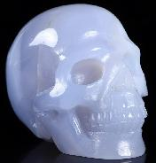 "Gemstone 2.0"" Blue Chalcedony Carved Crystal Skull, Realistic, Crystal Healing"