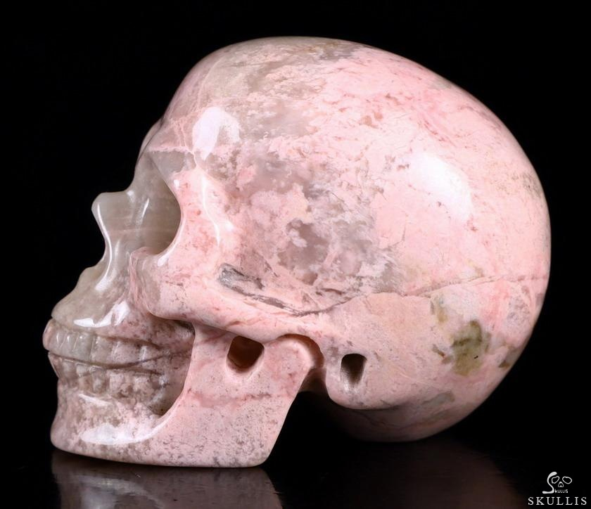 Pink & White Rhodonite Crystal Skull