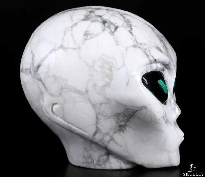Howlite Crystal Female Alien Skull With Malachite Pupil IN Black obsidian Eyes