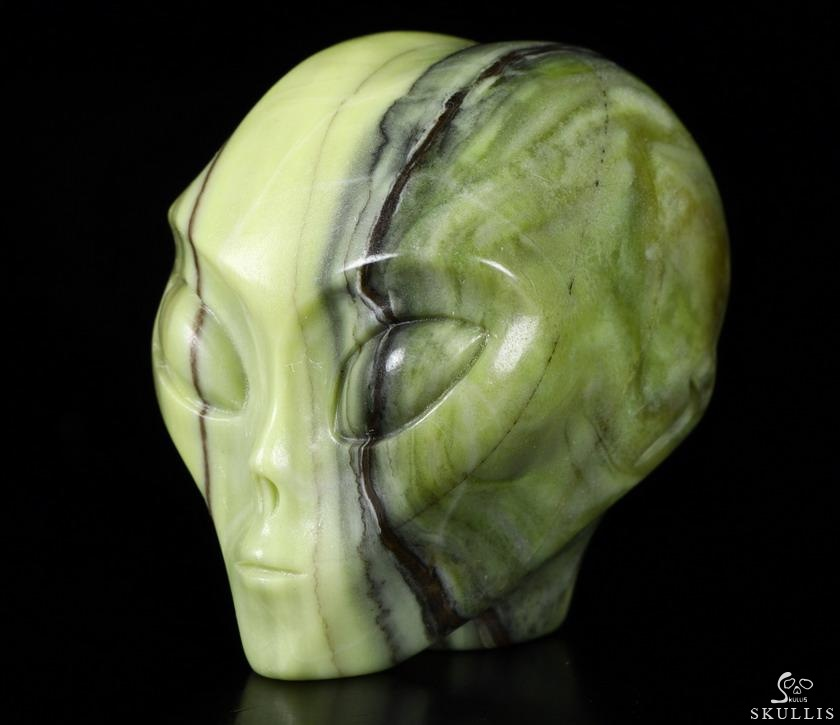 Butter Jade Crystal Female Alien Skull