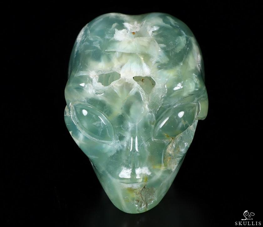 Prehnite Crystal Female Alien Skull