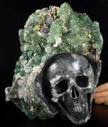 "Original Design 8.7"" fluorite Druse Mineral Carved Crystal Skull Sculpture, Healing"