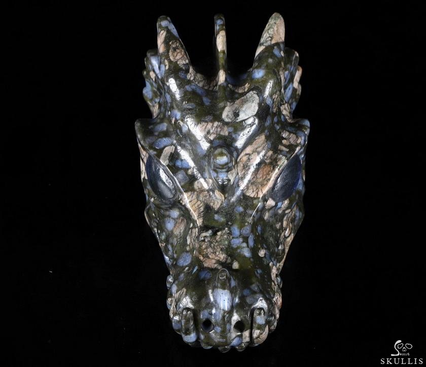 Que Sera Stone Llanite Crystal Dragon Skull & Labradorite Eyes