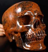"Lifesized 7.3"" Mahogany Obsidian Carved Crystal Skull, Super Realistic, Crystal Healing"