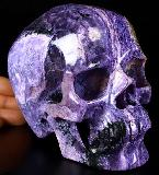 "Gemstone 6.1"" Russian Charoite Carved Crystal Skull, Super Realistic, Crystal Healing"