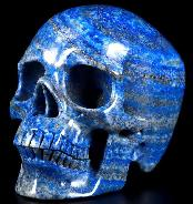 "Gemstone 5.0"" Lapis Lazuli Carved Crystal Skull, Super Realistic, Crystal Healing"