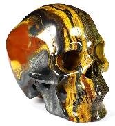 "4.9"" Colorful Tiger Iron Eye Carved Crystal Skull, Super Realistic, Crystal Healing"