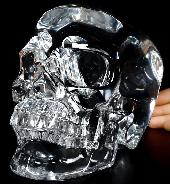 Lifesized 7.3 K9 CRYSTAL Carved Crystal Detachable Skull, Super Realistic, Crystal Healing