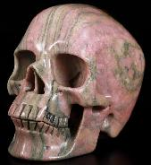 "4.8"" Pink & Black Rhodonite Carved Crystal Skull, Super Realistic, Crystal Healing"