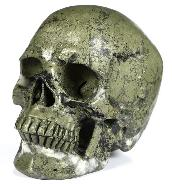 "5.0"" Pyrite Carved Crystal Skull, Super Realistic, Crystal Healing"