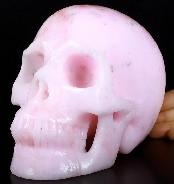 "Lifesized 6.7"" Pink Aragonite Carved Crystal Skull, Realistic, Crystal Healing"