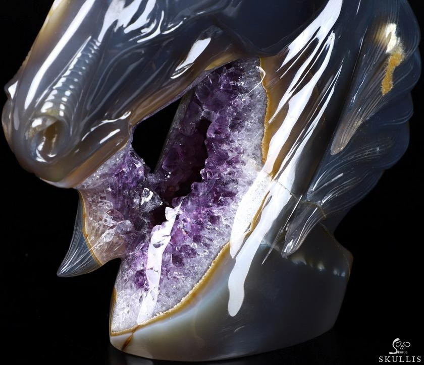 Agate Amethyst Geode Crystal Unicorn Sculpture