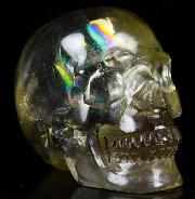 "Rainbow 2.0"" Citrine Carved Crystal Skull, Realistic, Crystal Healing"