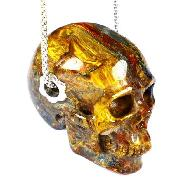"Gemstone Flash 1.4"" Blue, Gold & Red Pietersite Carved Crystal Skull, Realistic, Crystal Healing"