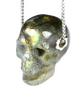 "1.1"" Labradorite Carved Crystal Skull Pendant With Sterling Silver Hole, Realistic, Crystal Healing"