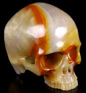 4.7 Three Colorful Agate Carved Crystal Skull Without Jaw,Super Realistic, Crystal Healing
