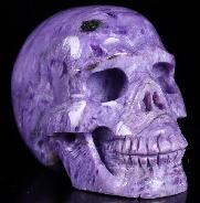 "Gemstone 2.0"" Russian Charoite Carved Crystal Skull, Realistic, Crystal Healing"