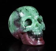 "Gemstone 1.4"" Ruby Zoisite Carved Crystal Skull, Realistic, Crystal Healing"