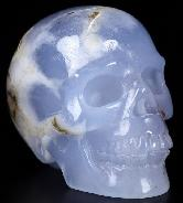 "GEMSTONE 2.4"" Blue Chalcedony Carved Crystal Skull, Realistic, Crystal Healing"