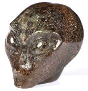 "1.8"" Garnet Carved Crystal Female Allien Skull, Crystal Healing"