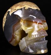 "Huge 5.0"" Dinosaur Egg Agate Geode Carved Crystal Singing Skull, Crystal Healing"