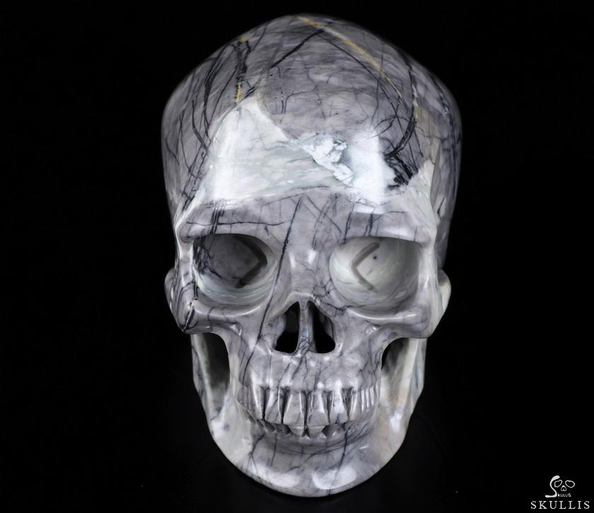 "5.0"" Picasso Jasper Carved Crystal Skull,Super Realistic ..."