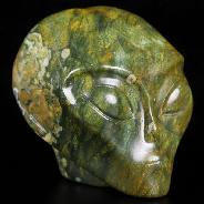 "2.0"" Rainforest Jasper Carved Crystal Female Alien Skull, Crystal Healing"