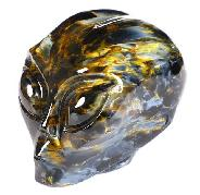 "Gemstone Flash 1.7"" Blue, Gold & Red Pietersite Carved Crystal Female Alien Skull, Crystal Healing"
