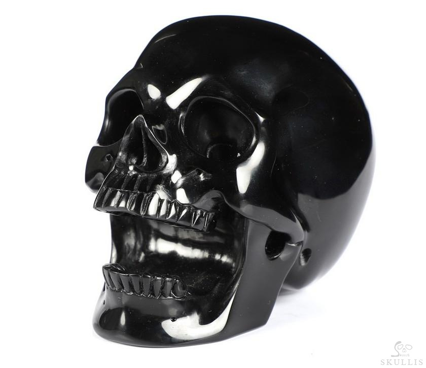 Black Obsidian Crystal Skull Pen Holder
