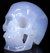 "Gemstone 5.0"" Blue Chalcedony Carved Crystal Skull,Super Realistic, Crystal Healing"