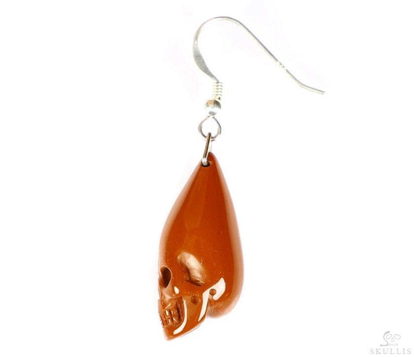 Red Jasper Single Crystal Skull Earring