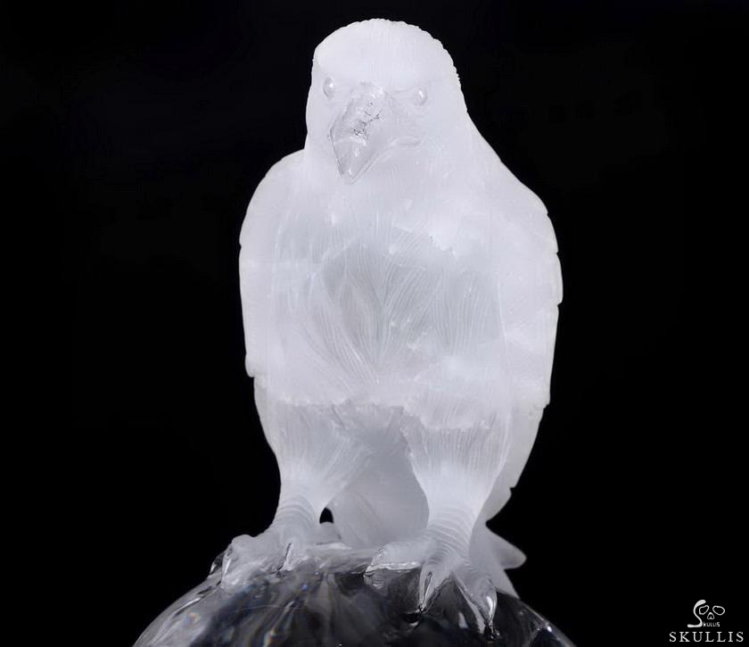Quartz Rock Crystal Crystal Skull With Raven Standing Sculpture