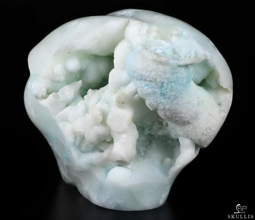 Blue Aragonite Geode Crystal Female Alien skull
