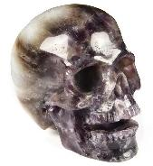 "Huge 5.1"" Dream Chevron Amethyst Carved Crystal Singing Skull, Realistic, Crystal Healing"