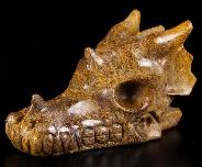 "5.1"" Elephant Skin Jasper Carved Crystal Dragon Skull, Crystal Healing"