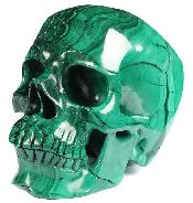 "GEMSTONE 6.2"" Malachite Carved Crystal Skull,Super Realistic, Crystal Healing"