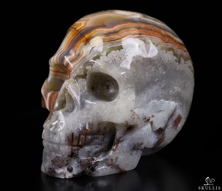 Red Crazy Lace Agate Crystal Geode Skull