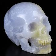 "GEMSTONE 4.0"" Blue Chalcedony Carved Crystal Skull, Realistic, Crystal Healing"