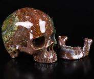 "Gemstone 5.0"" Bloodstone Carved Crystal Skull, Detachable Jaw, Super Realistic, Crystal Healing"